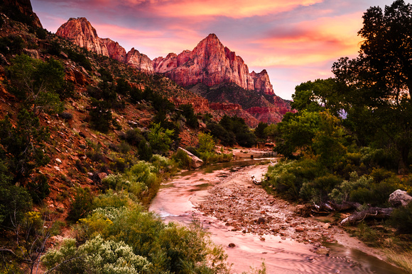 Sunset on the Virgin River - Zion NP
